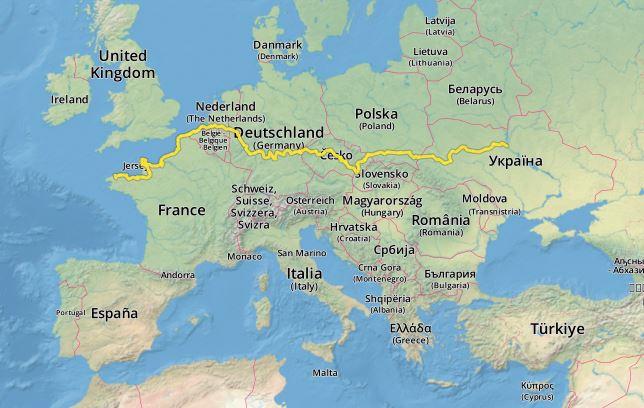 Euro Velo 4 - itineraire Dunkerque vers Mont Saint Michel